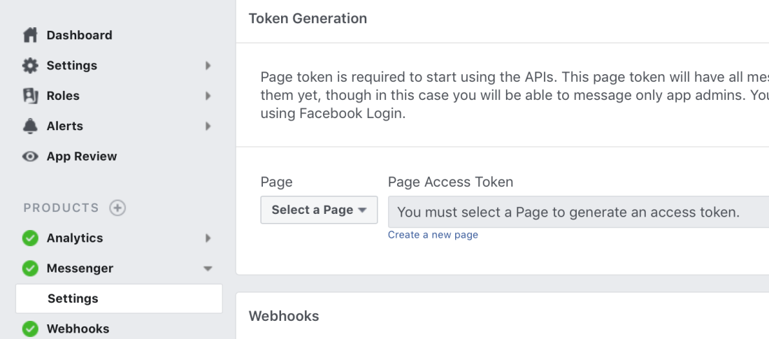 page acces token